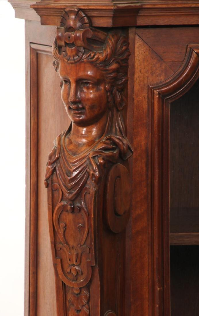 Figural Carved Walnut 2 Door Bookcase - 10