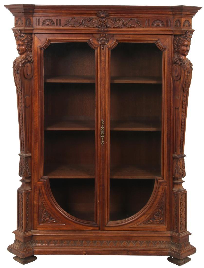 Figural Carved Walnut 2 Door Bookcase