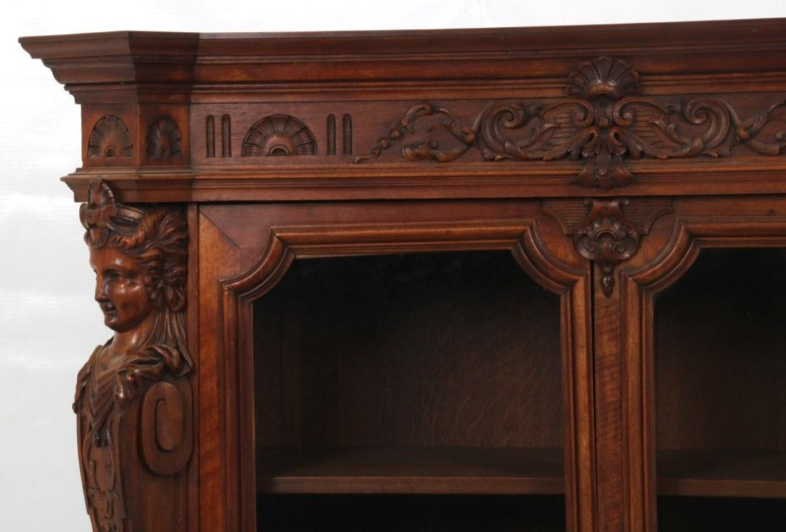 Figural Carved Walnut 2 Door Bookcase - 2