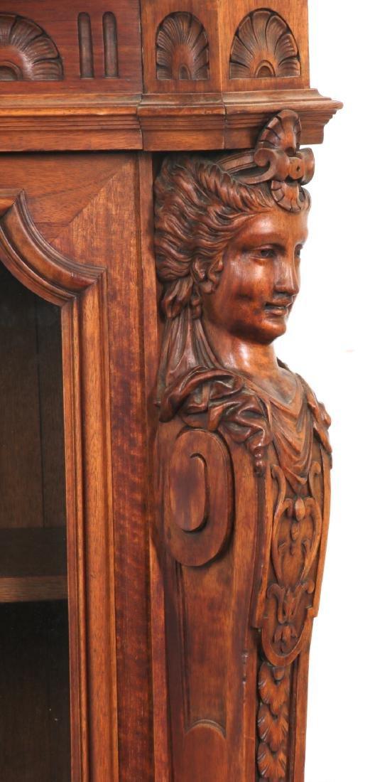 Figural Carved Walnut 2 Door Bookcase - 3
