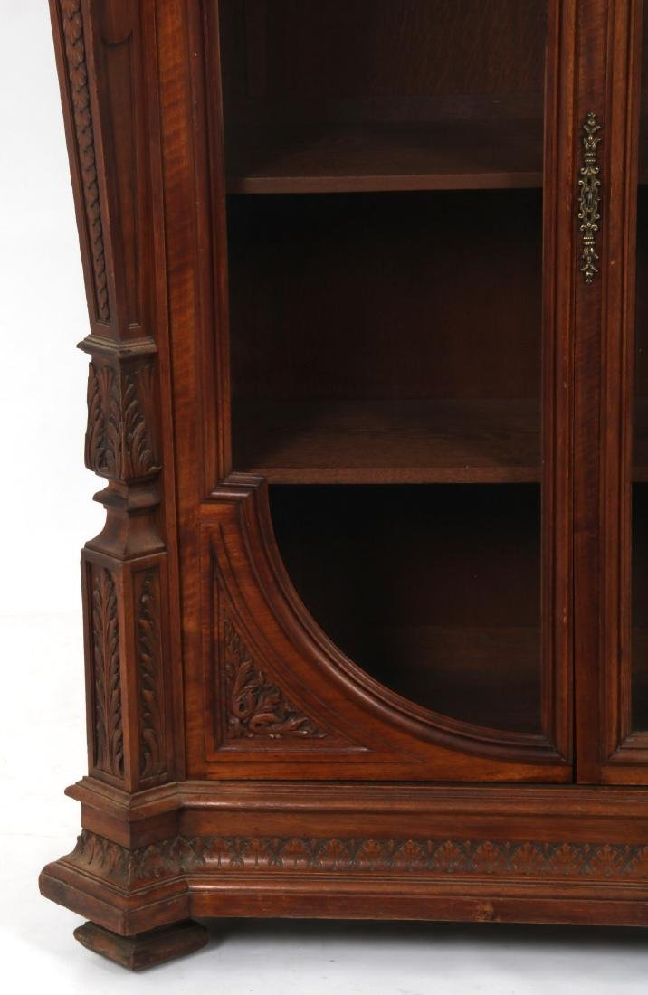 Figural Carved Walnut 2 Door Bookcase - 4