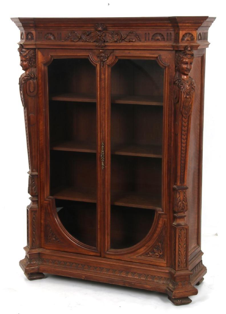 Figural Carved Walnut 2 Door Bookcase - 5