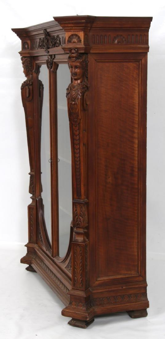 Figural Carved Walnut 2 Door Bookcase - 6