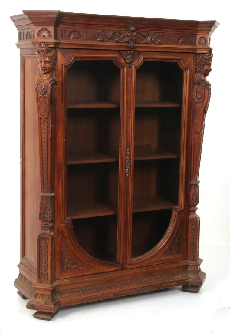 Figural Carved Walnut 2 Door Bookcase - 9