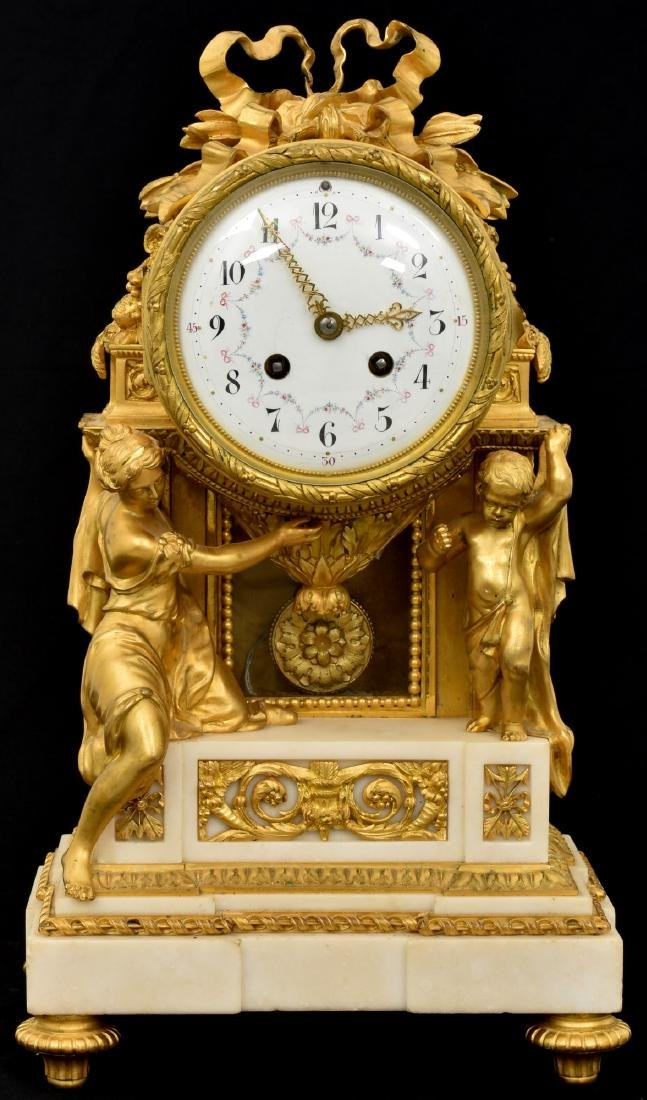 Exceptional French Marble & Bronze Mantle Clock