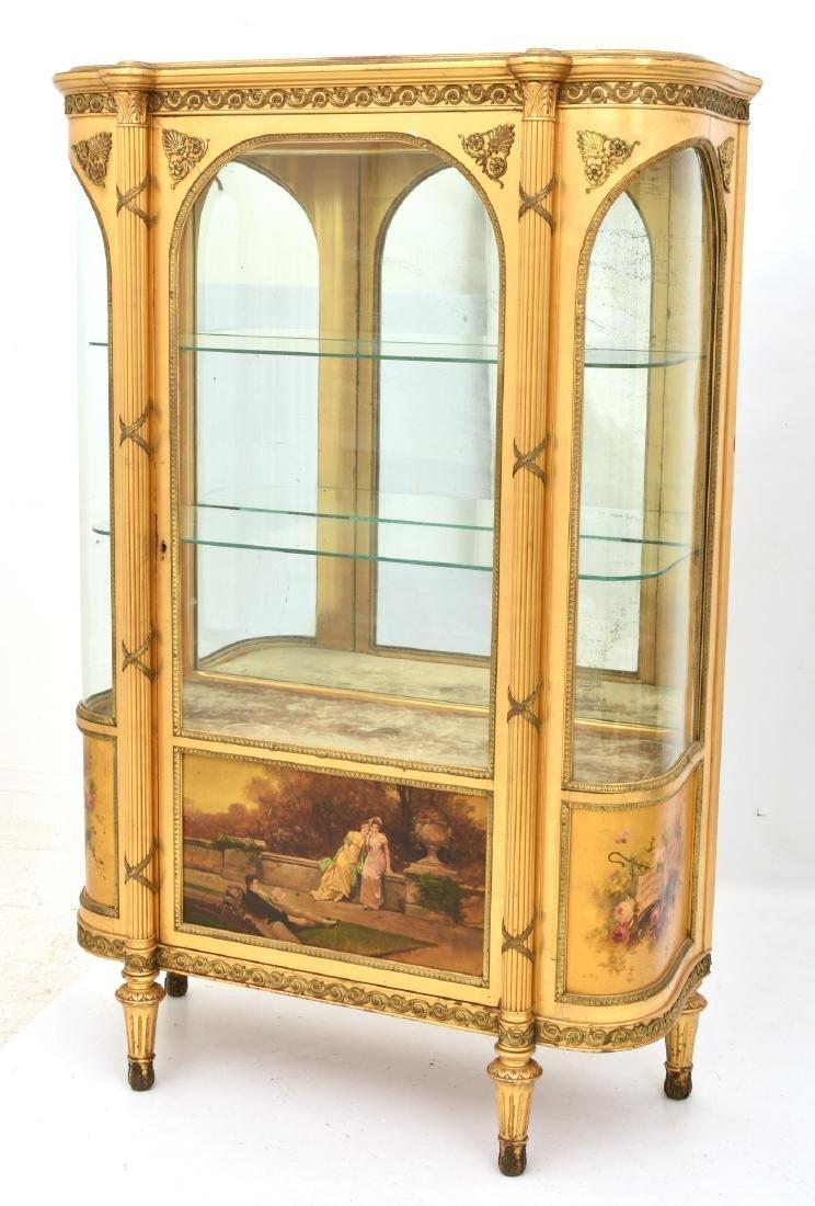 Paint Decorated Gilt Vitrine Curio Cabinet - 2
