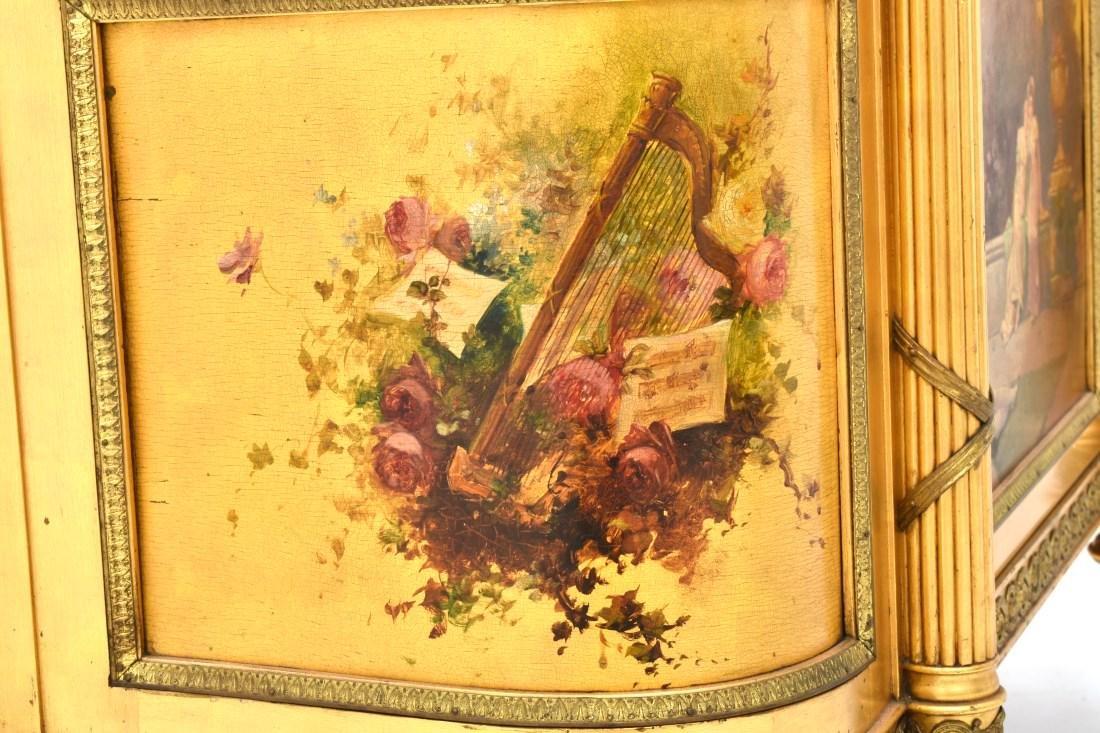 Paint Decorated Gilt Vitrine Curio Cabinet - 8