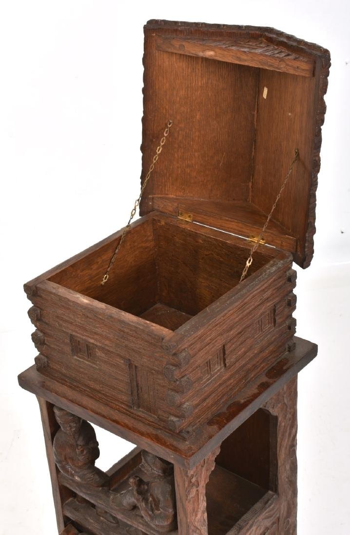 Black Forest Carved Smoking Stand - 6