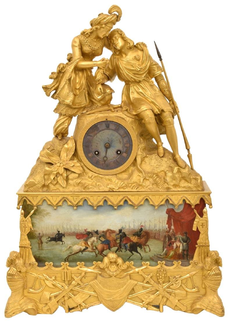 French Empire Figural Bronze Mantle Clock