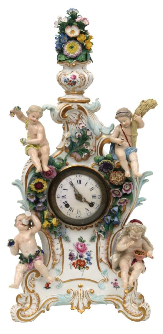 Meissen Porcelain 4 Seasons Mantle Clock