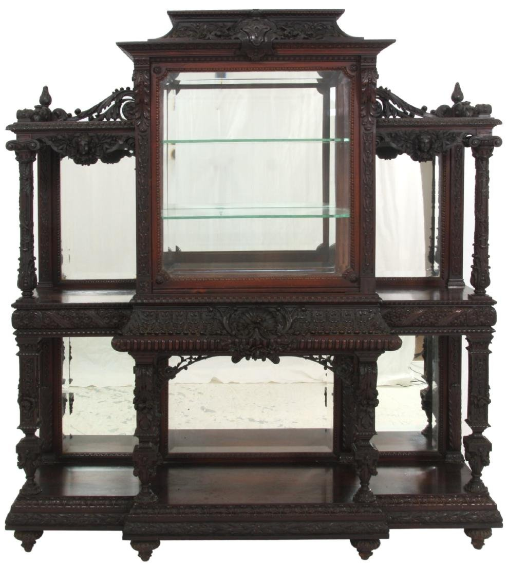 Carved Rosewood Crystal Cabinet