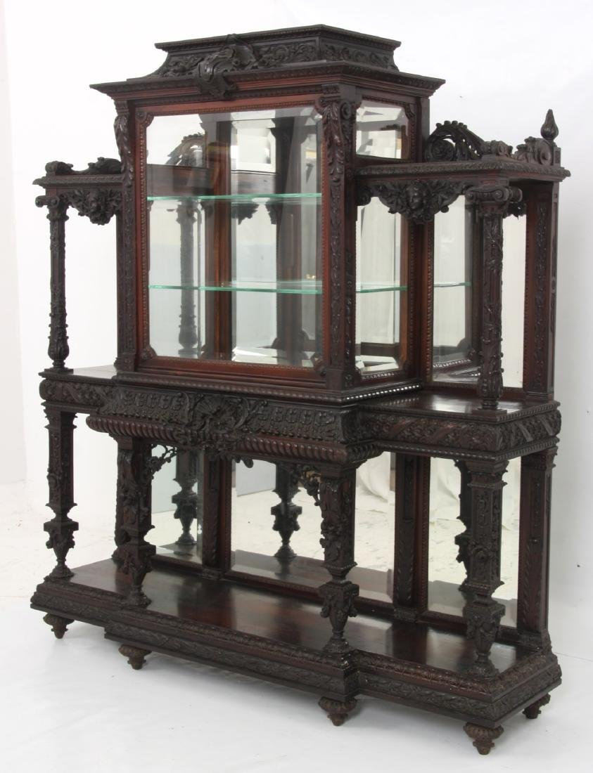 Carved Rosewood Crystal Cabinet - 4