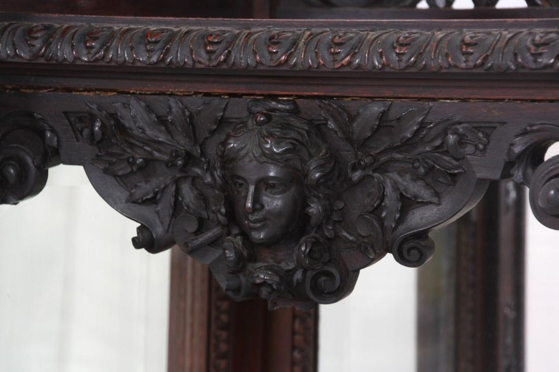 Carved Rosewood Crystal Cabinet - 5
