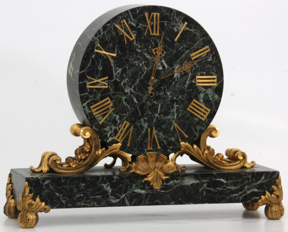Caldwell Bronze Mounted Marble Mantle Clock - 2