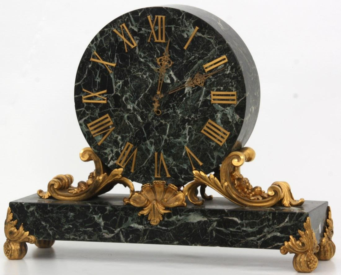 Caldwell Bronze Mounted Marble Mantle Clock - 3