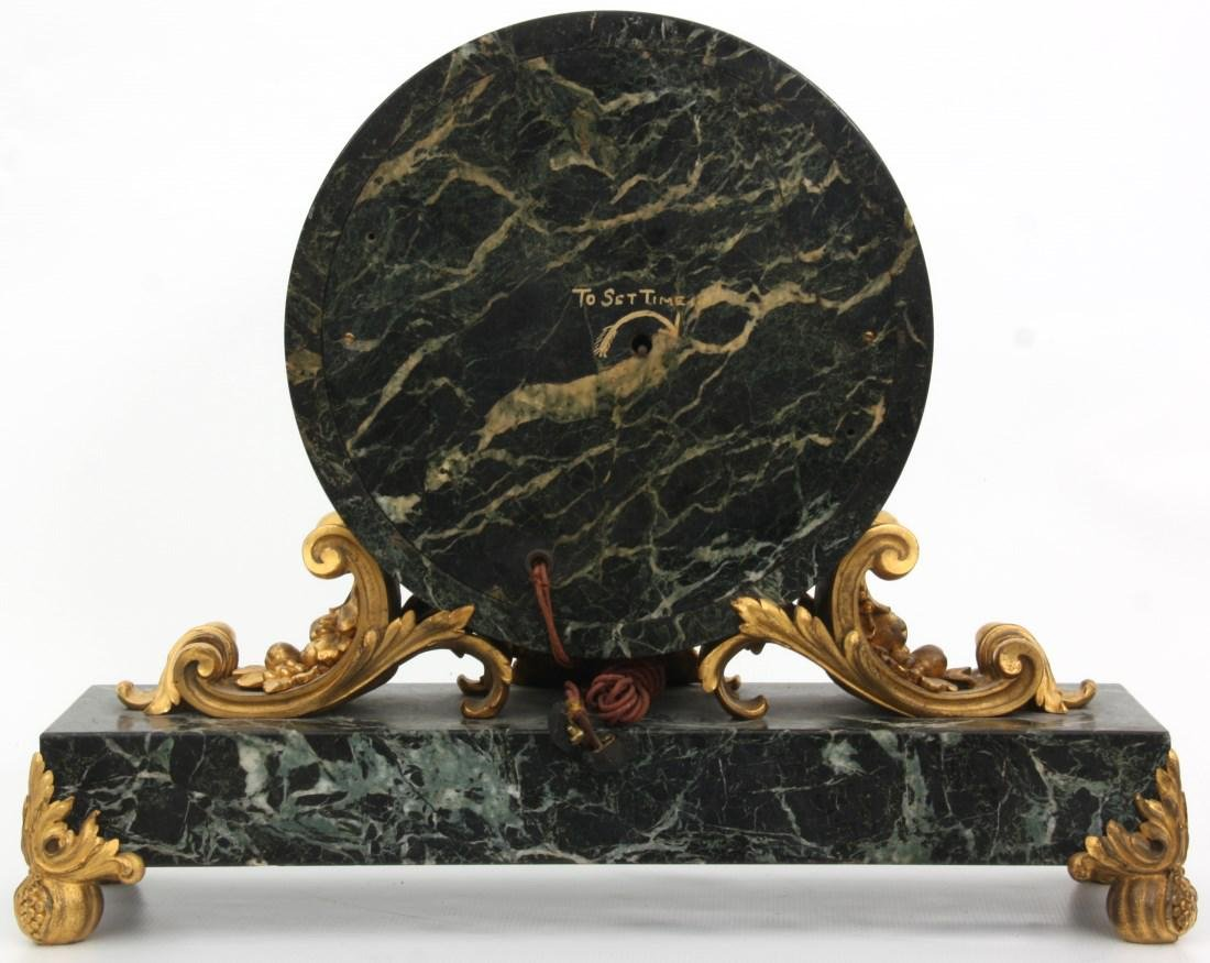 Caldwell Bronze Mounted Marble Mantle Clock - 7