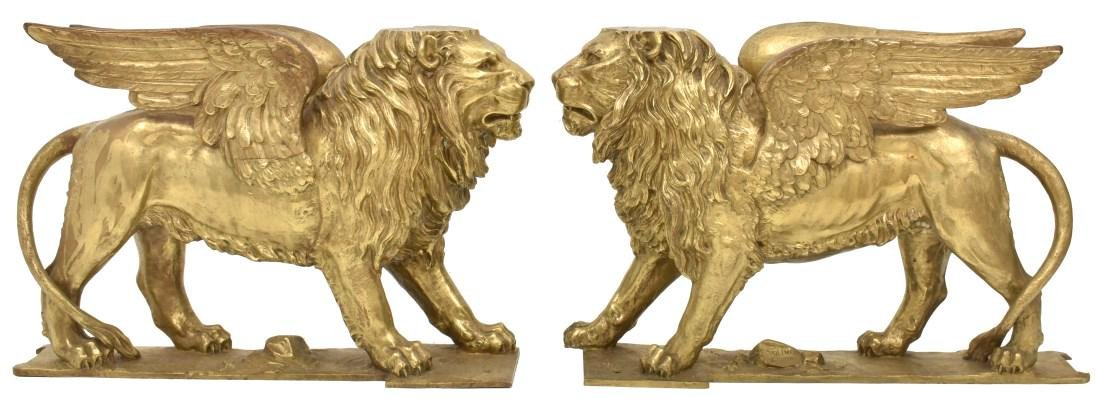 Pr. Figural Bronze Winged Lions