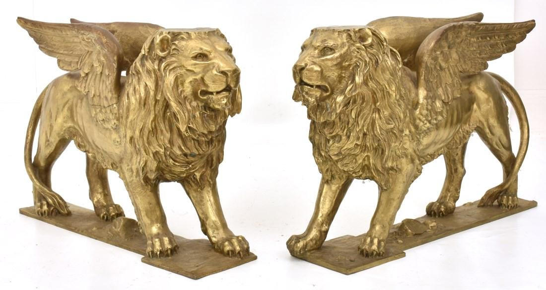 Pr. Figural Bronze Winged Lions - 2