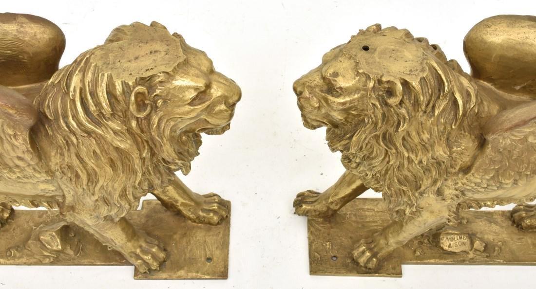 Pr. Figural Bronze Winged Lions - 6