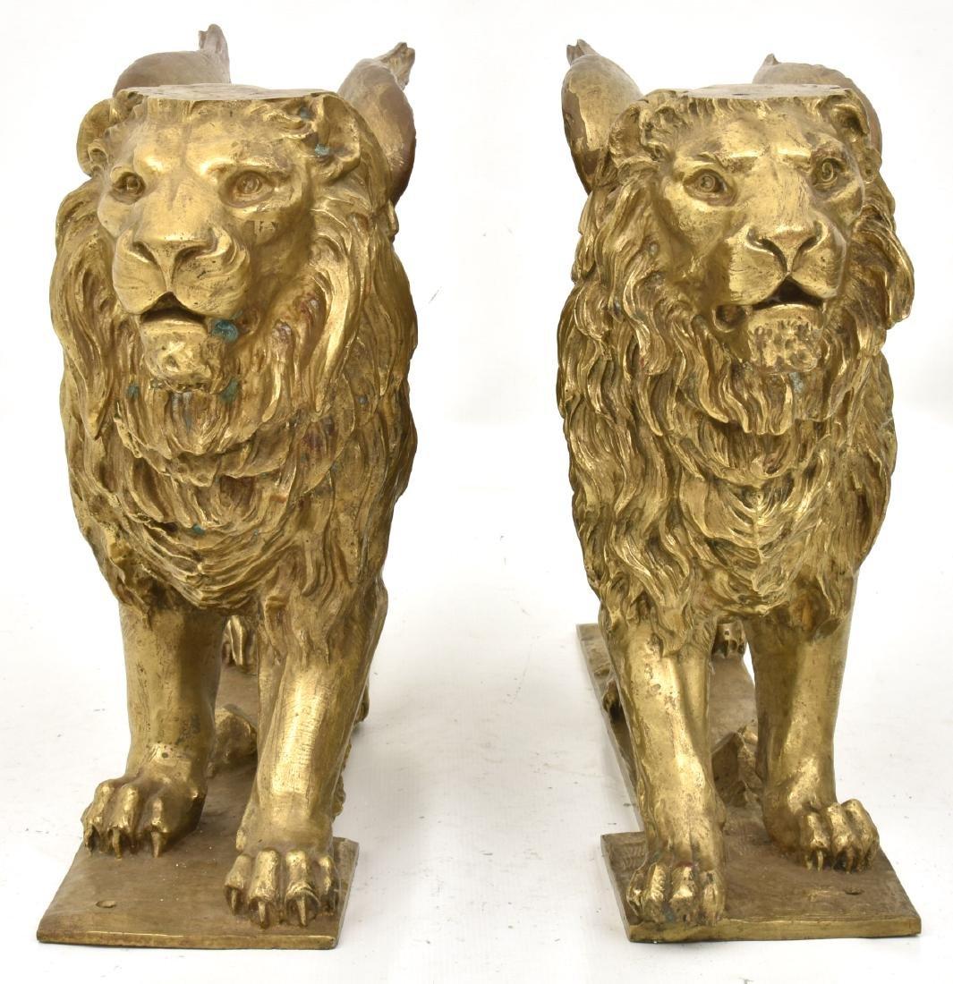 Pr. Figural Bronze Winged Lions - 7