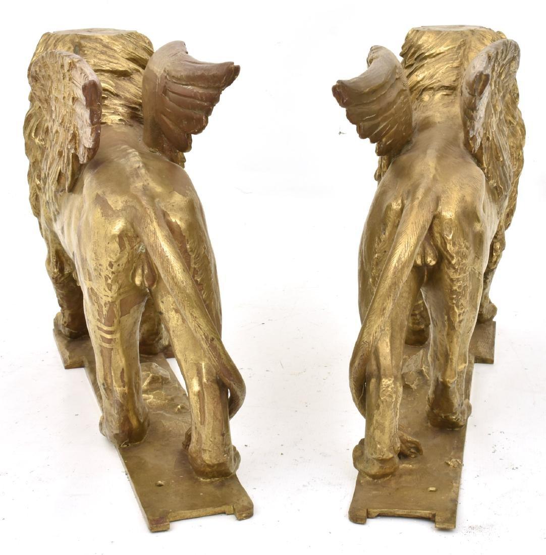 Pr. Figural Bronze Winged Lions - 9