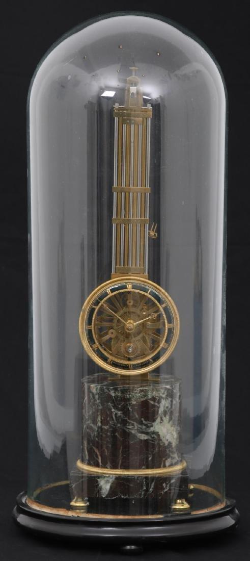 French Skeletonized Inverted Pendulum Mantle Clock