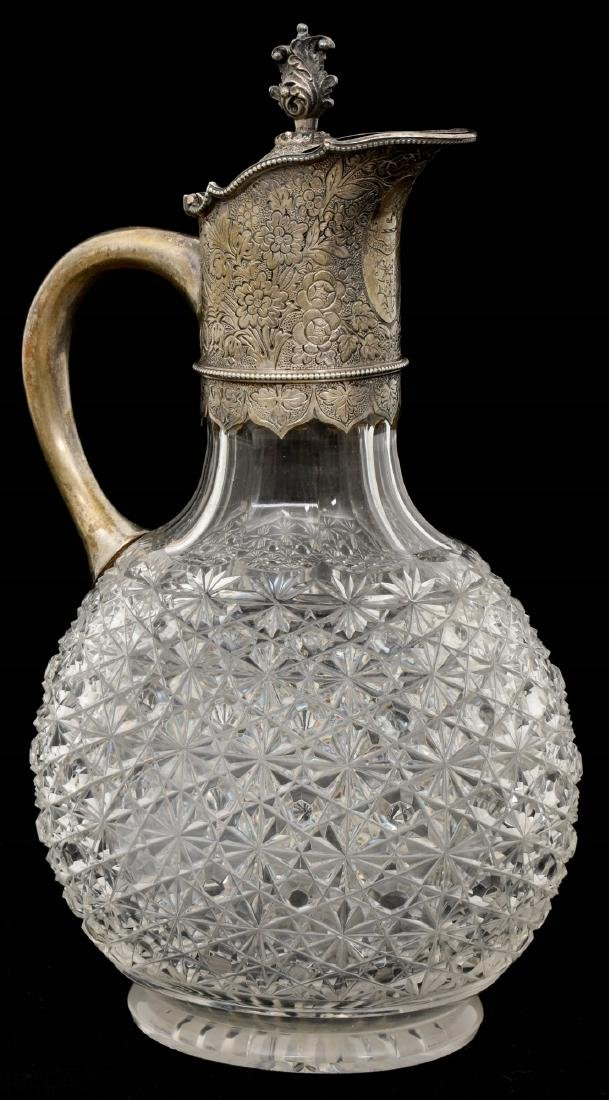 Sterling Silver Mounted Cut Glass Claret Jug