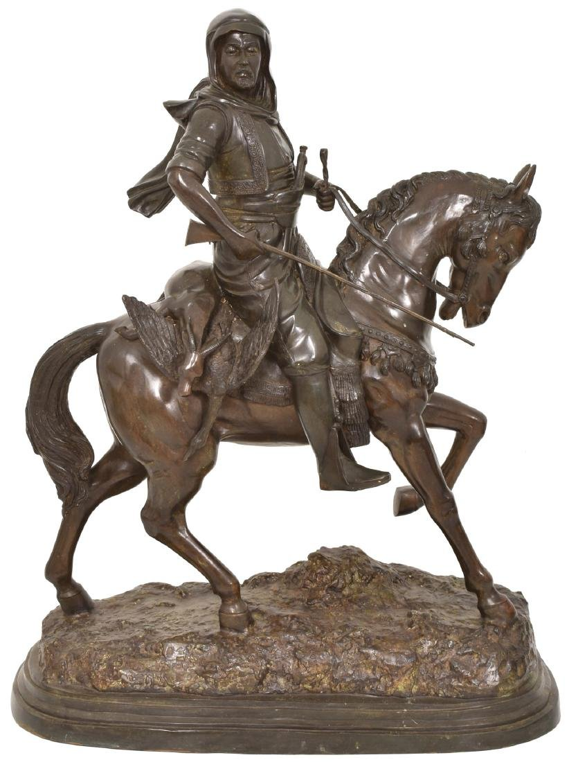 Monumental 49 in. Arab On Horseback Bronze