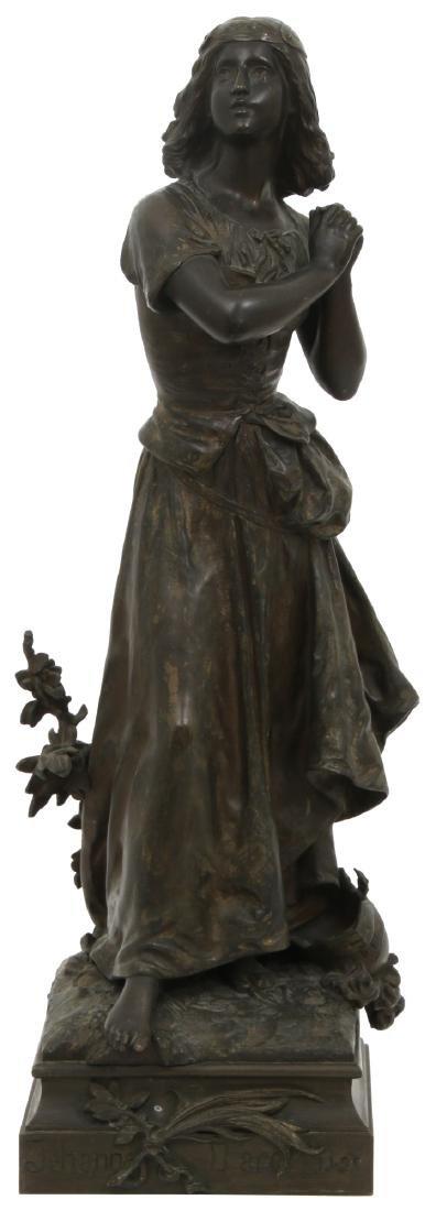 H. Moreau Bronze Joan of Arc Sculpture