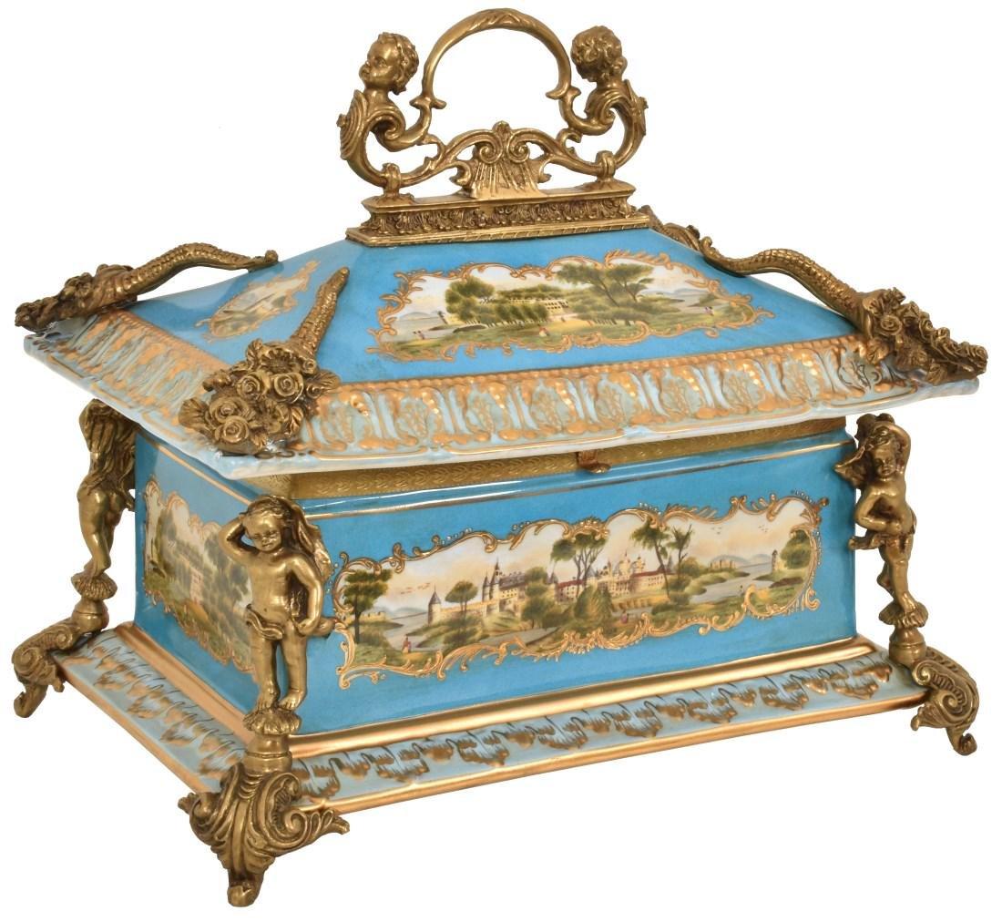Bronze Mounted Sevres Porcelain Table Casket