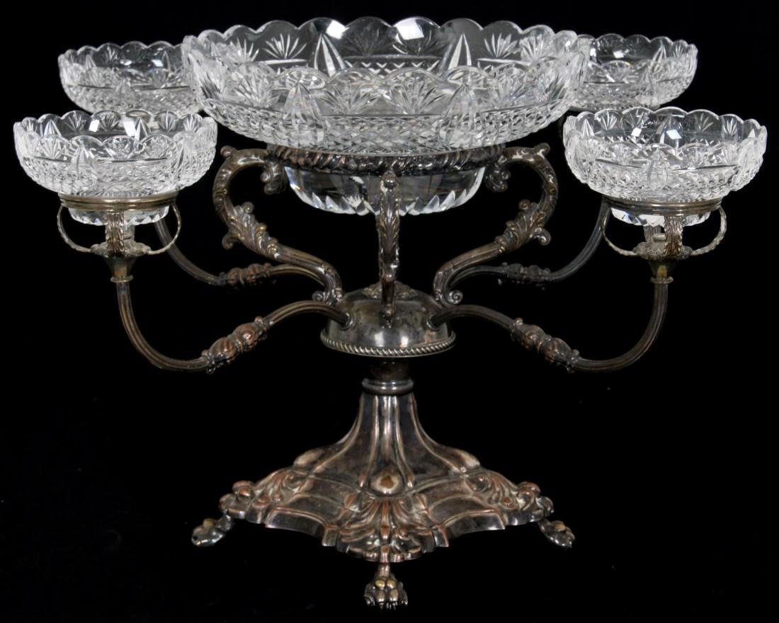 English Silver Plate & Cut Crystal Epergne
