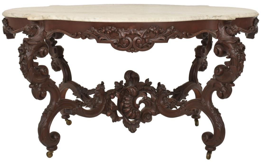Massive 58 Inch Carved Marble Top Parlor Table