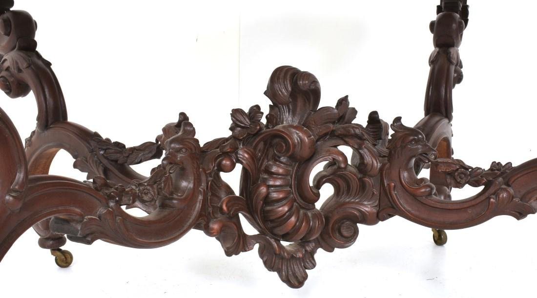 Massive 58 Inch Carved Marble Top Parlor Table - 3