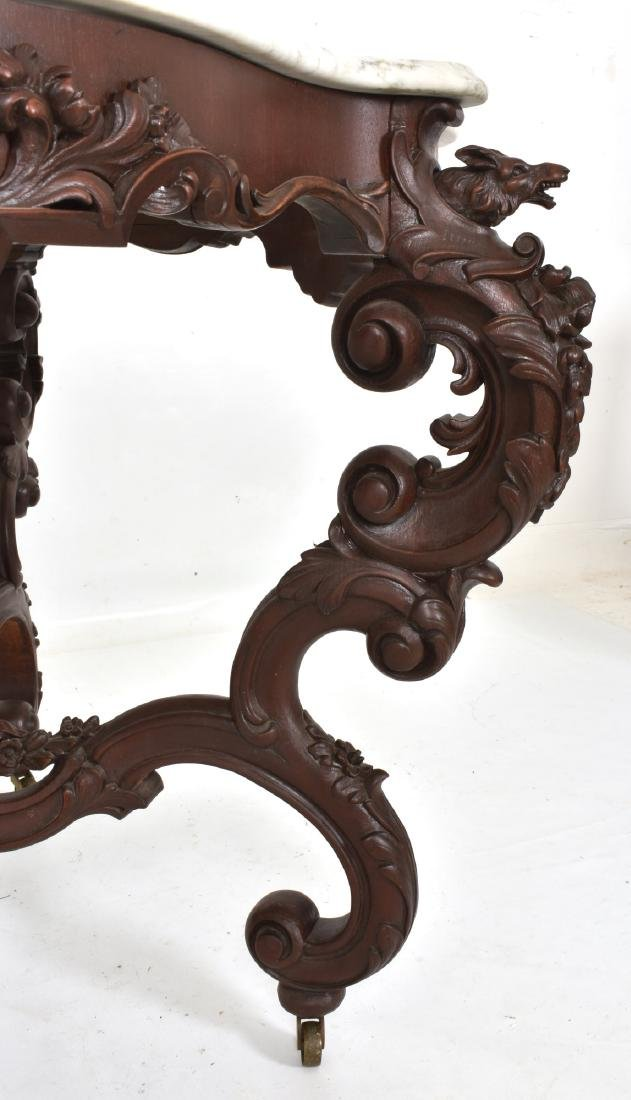 Massive 58 Inch Carved Marble Top Parlor Table - 5
