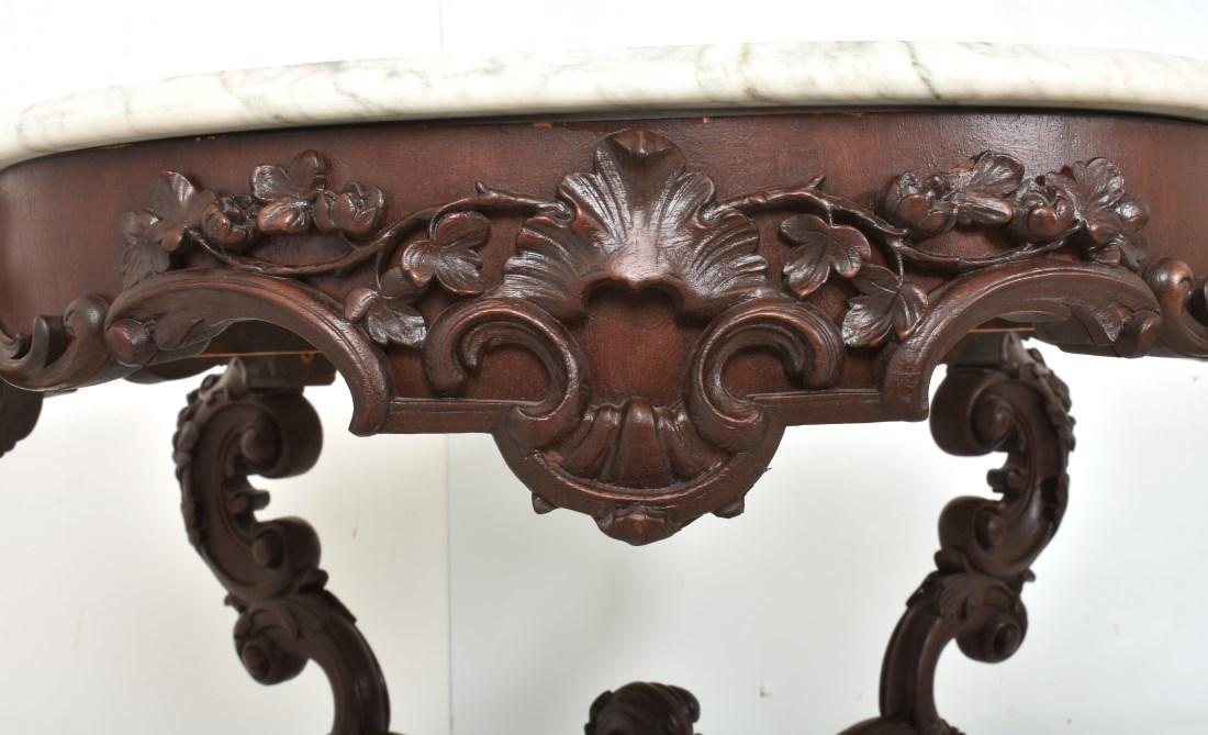 Massive 58 Inch Carved Marble Top Parlor Table - 8