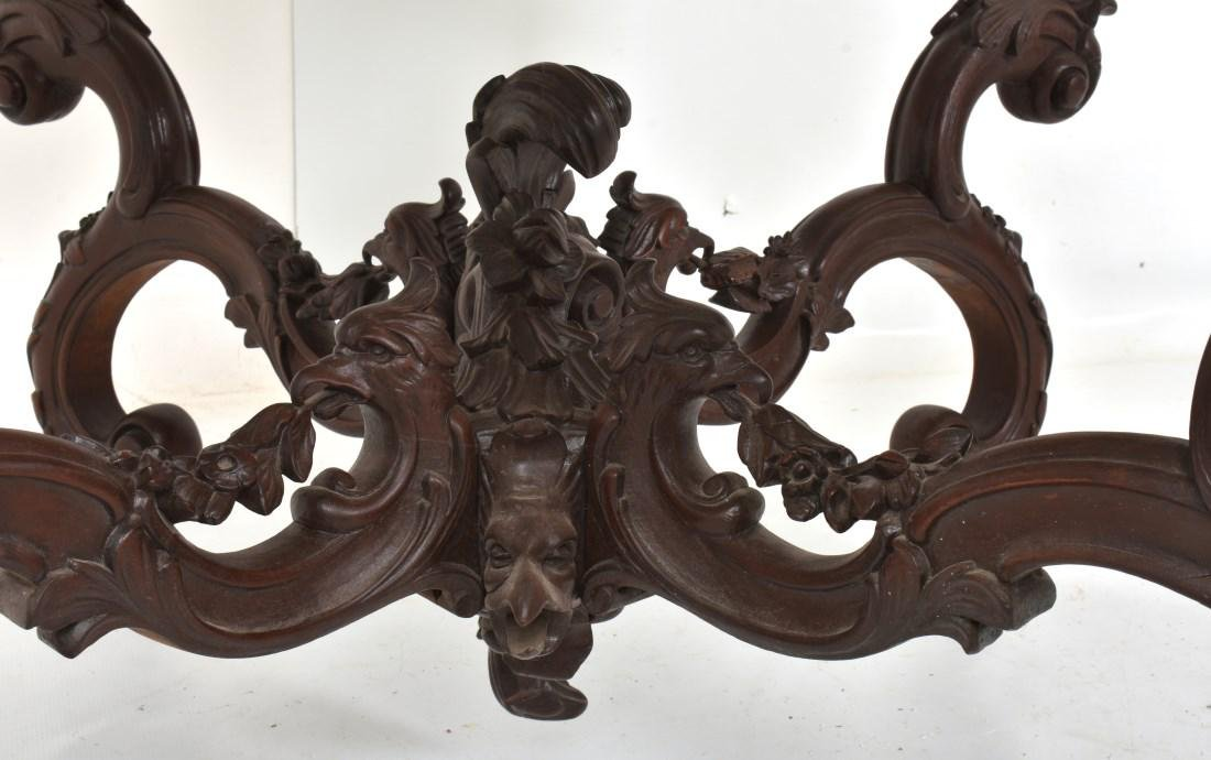 Massive 58 Inch Carved Marble Top Parlor Table - 9