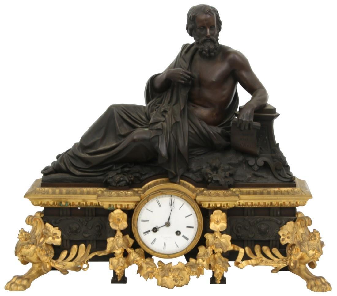 French Bronze Mantle Clock, (Henri Picard)