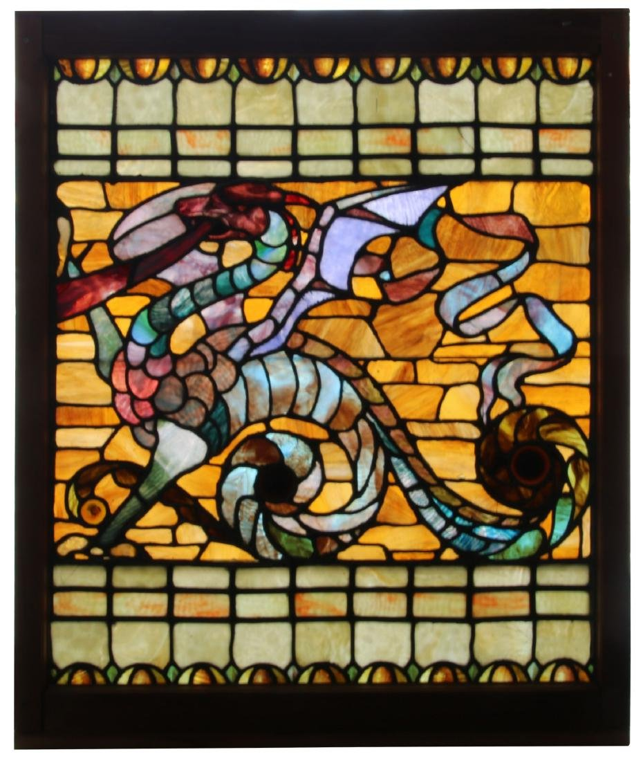 Figural Winged Griffin Leaded Glass Window
