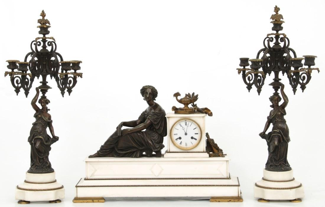 3 Pc. French Marble & Bronze Mantle Clock Set