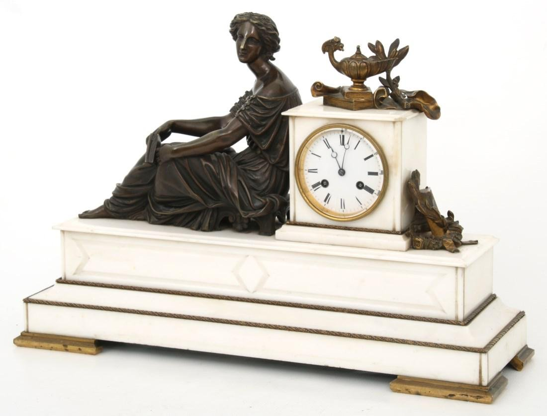 3 Pc. French Marble & Bronze Mantle Clock Set - 2