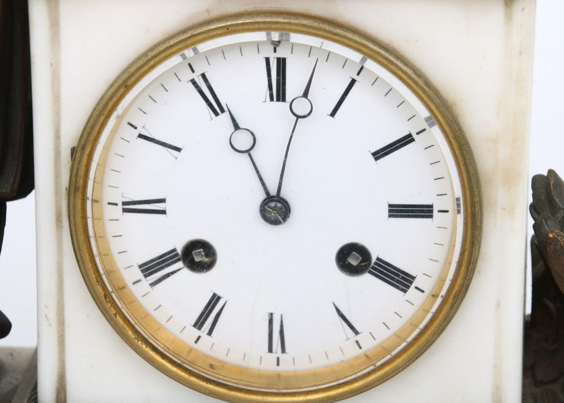 3 Pc. French Marble & Bronze Mantle Clock Set - 5