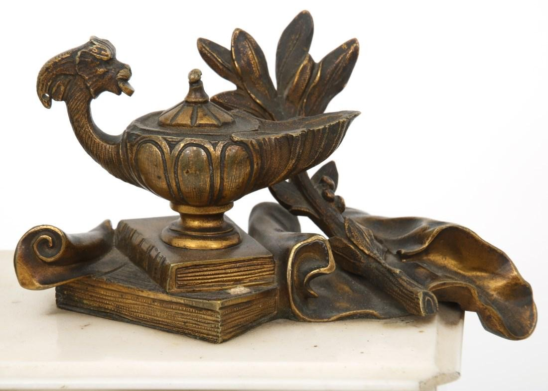 3 Pc. French Marble & Bronze Mantle Clock Set - 6