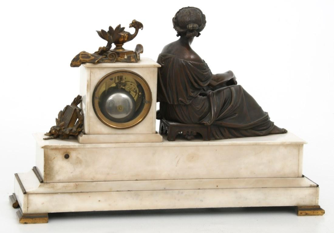 3 Pc. French Marble & Bronze Mantle Clock Set - 7