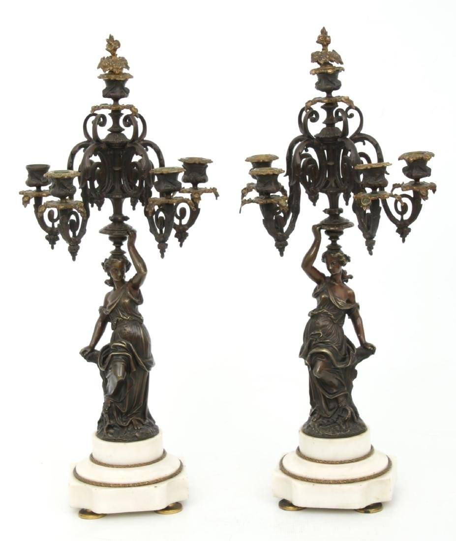 3 Pc. French Marble & Bronze Mantle Clock Set - 9