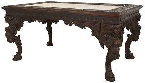 Maiden Carved Marble Top Walnut Library Table