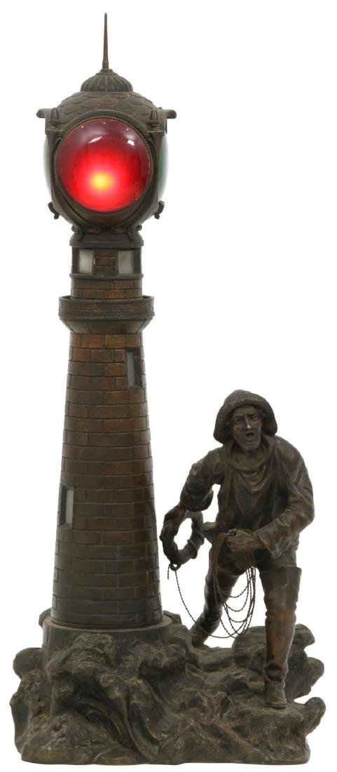 Figural Lighthouse & Keeper Lamp