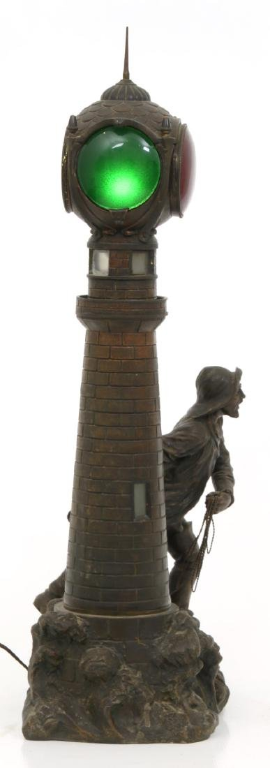 Figural Lighthouse & Keeper Lamp - 2