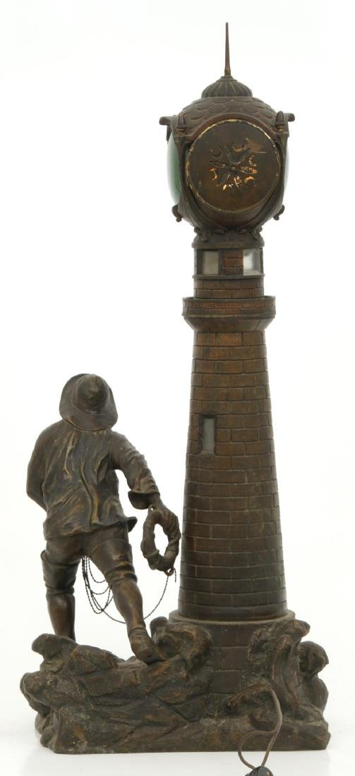 Figural Lighthouse & Keeper Lamp - 3