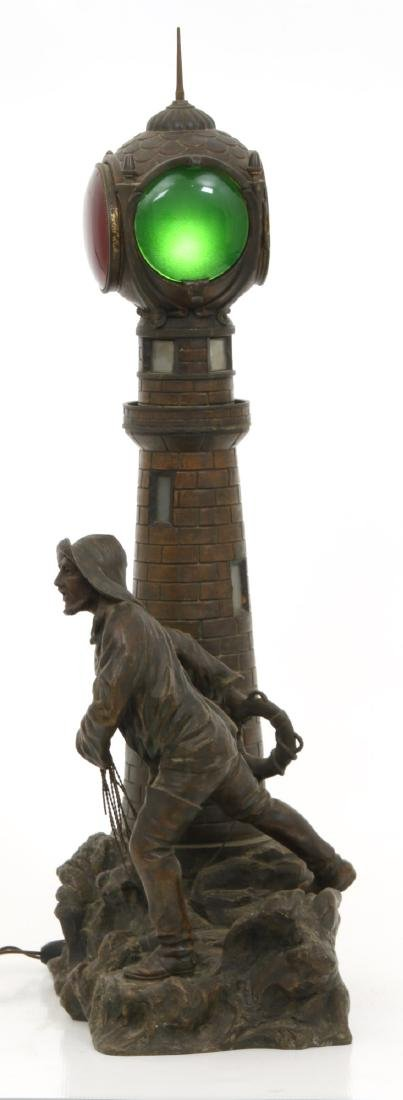 Figural Lighthouse & Keeper Lamp - 4