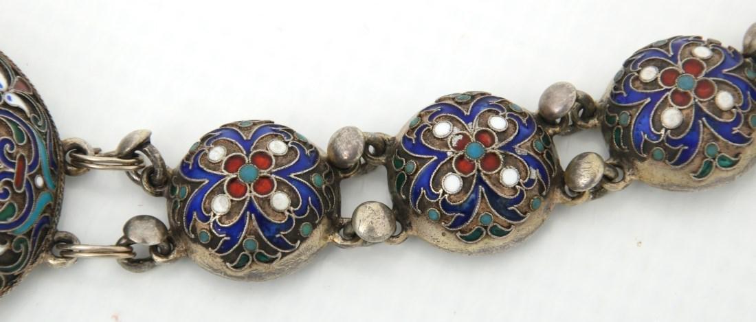 Russian Enameled Silver Belt - 5